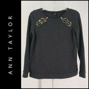 Ann Taylor Woman Beaded Long Sleeve Blouse Size PS